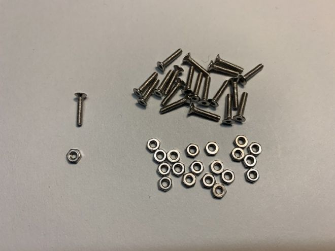 M2-10mm S/Steel countersunk hex bolts & nuts - pack of 20